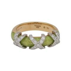 Fabergé Xenia 18k Gold Enamel Ring Diamonds 0,270 Ct