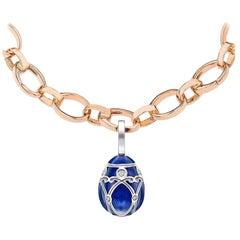 Fabergé Yelagin 18K White Gold Diamond Egg Charm With Blue Guilloché Enamel