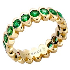 Fabergé Yellow Gold Emerald Wide Fluted Eternity Ring