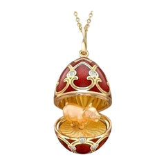Fabergé Yellow Gold Red Guilloché Enamel Year of the Pig Locket 1151FP2285