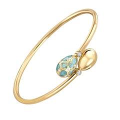 Fabergé Yellow Gold Turquoise Guilloché Enamel Crossover Bracelet 1058BT1991