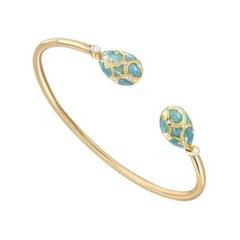 Fabergé Yellow Gold Turquoise Guilloché Enamel Open Bracelet 1057BT1895