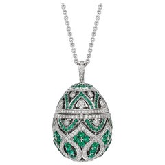 Fabergé Imperial Zenya White Gold & Emerald Egg Pendant