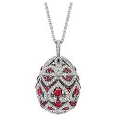 Fabergé Imperial Zenya White Gold & Ruby Egg Pendant
