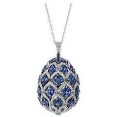 Fabergé Imperial Zenya White Gold & Blue Sapphire Egg Pendant
