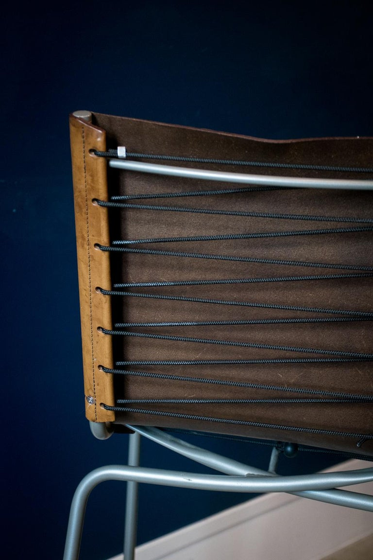 Fabiaan Van Severan Leather Bar Stools, Set of 3 For Sale 5