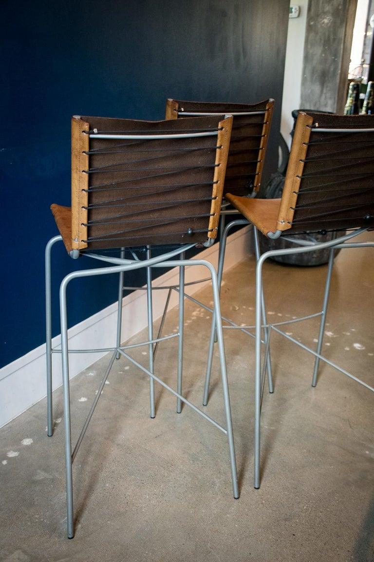 Fabiaan Van Severan Leather Bar Stools, Set of 3 For Sale 6