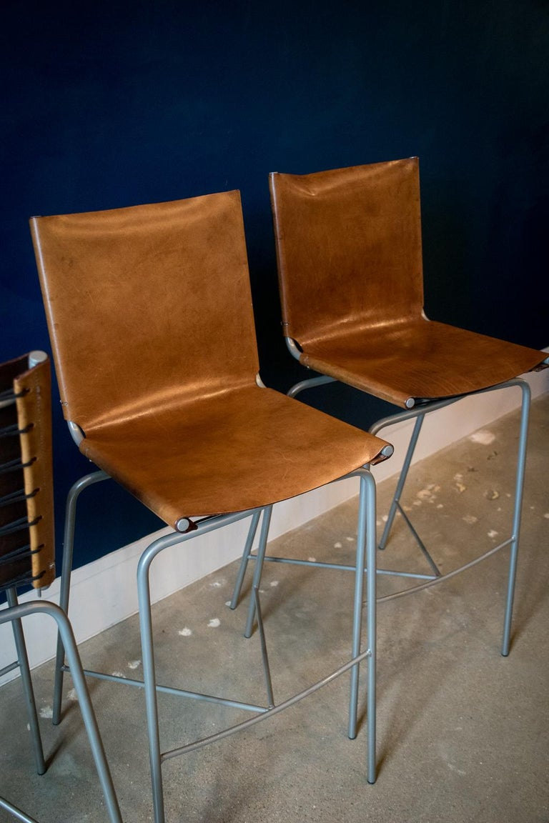 Fabiaan Van Severan Leather Bar Stools, Set of 3 For Sale 7