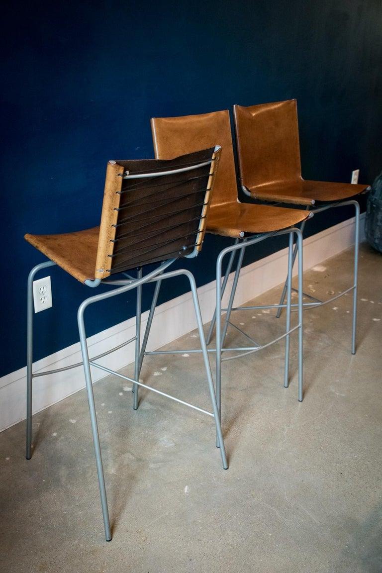 Modern Fabiaan Van Severan Leather Bar Stools, Set of 3 For Sale
