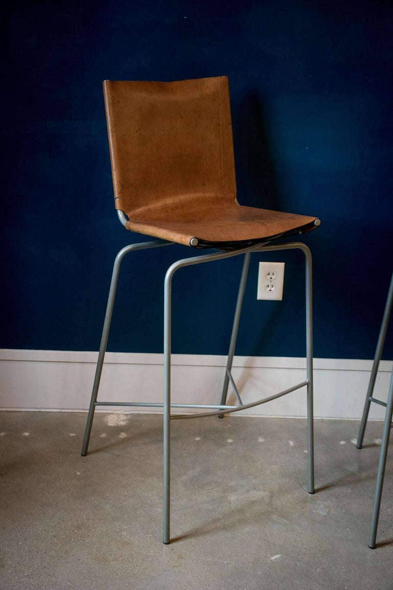 Fabiaan Van Severan Leather Bar Stools, Set of 3 In Good Condition For Sale In Austin, TX