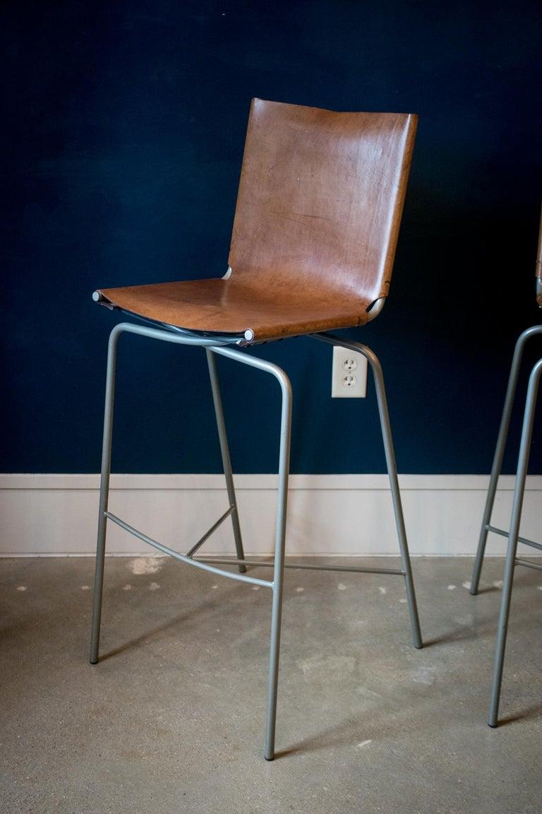 Late 20th Century Fabiaan Van Severan Leather Bar Stools, Set of 3 For Sale