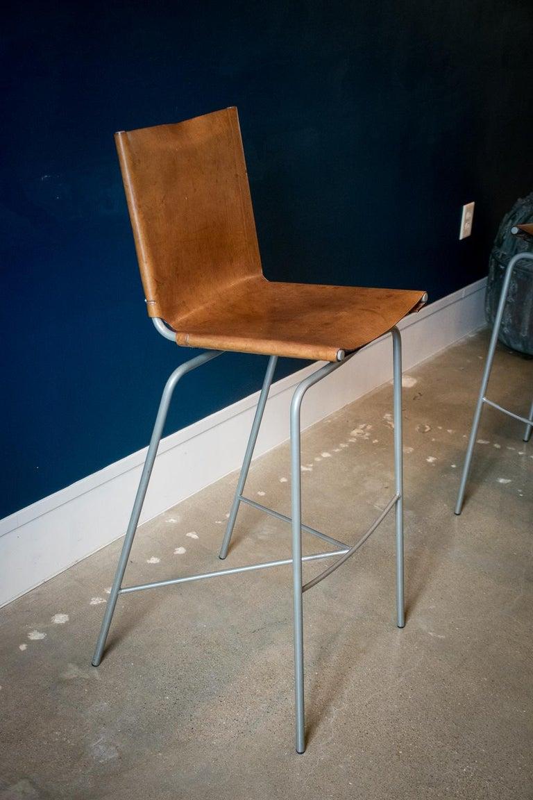 Steel Fabiaan Van Severan Leather Bar Stools, Set of 3 For Sale