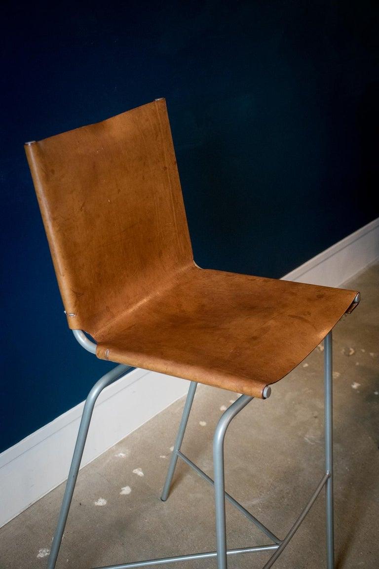 Fabiaan Van Severan Leather Bar Stools, Set of 3 For Sale 1