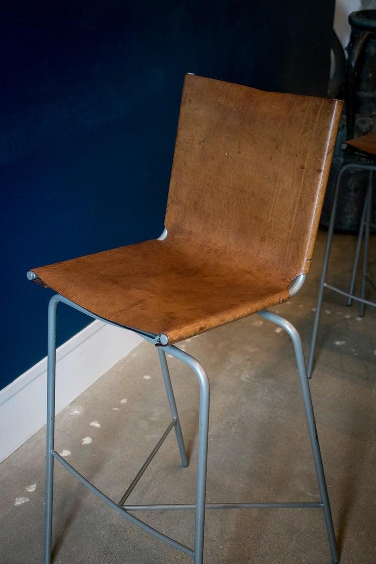 Fabiaan Van Severan Leather Bar Stools, Set of 3 For Sale 2