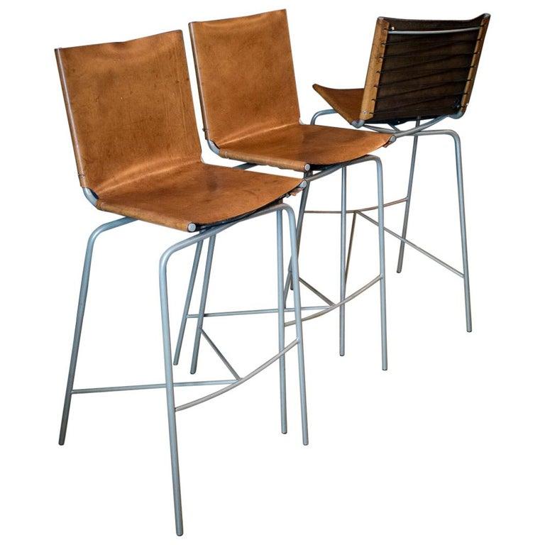 Fabiaan Van Severan Leather Bar Stools, Set of 3 For Sale