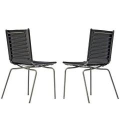 Fabiaan Van Severen Dining Chairs in Patinated Black Leather