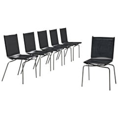 Fabiaan Van Severen Set of Dining Chairs in Patinated Black Leather