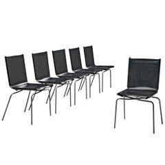Fabiaan Van Severen Set of Dining Chairs in Patinated Black Leather