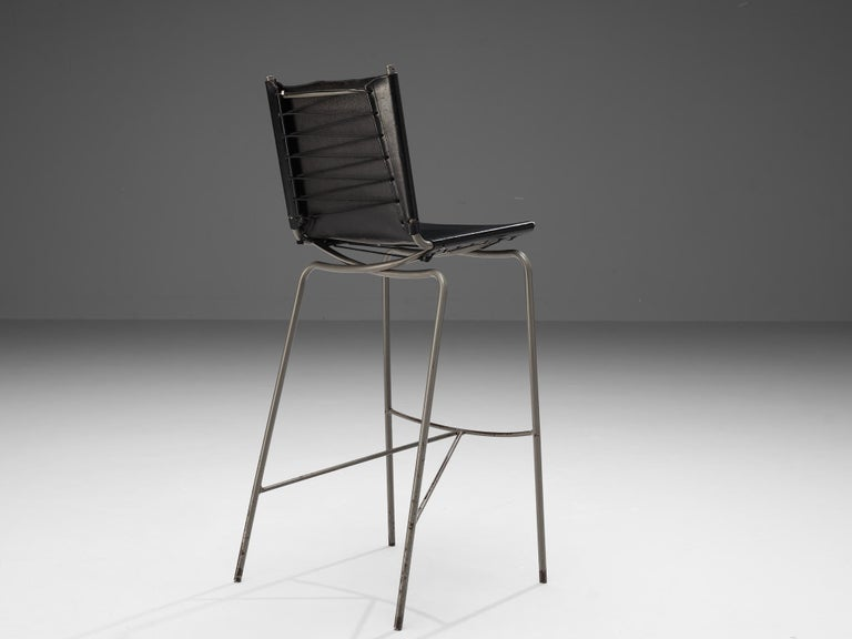Fabiaan Van Severen, three bar stools, patinated black leather, tubular steel, lace, Belgium, 1997  Distinct bar stool by Belgium designer Fabiaan Van Severen. In 1997 van Severen created the design that features a patinated leather seat and