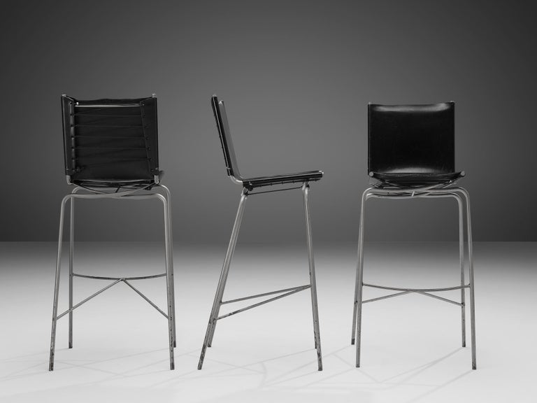 Late 20th Century Fabiaan Van Severen Three Bar Stools in Patinated Black Leather For Sale