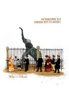 Ménagerie du Jardin des Plantes, gouache on paper