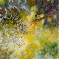 Tender autumn heaven - Floral abstract with golden, Mixed Media on Canvas