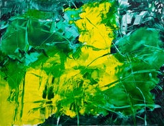 Abstract vibration in yellow and green, Painting, Oil on Canvas