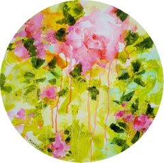 Floral poetry n°1 - acrylic on circular canvas, Painting, Acrylic on Canvas