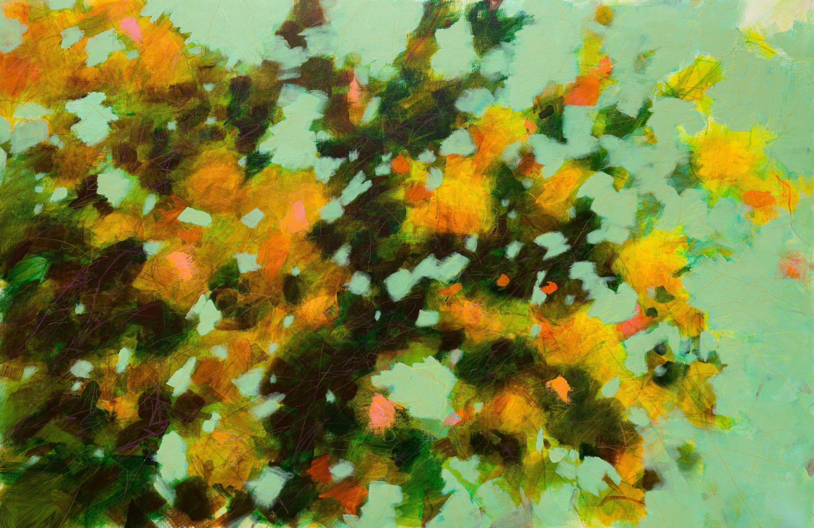 Fabienne Monestier Flowering Branches In Orange And Green Painting Acrylic On Canvas For Sale At 1stdibs