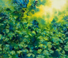 Garden's corner in yellow, green and blue, Painting, Oil on Canvas