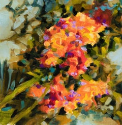Gladioli - floral abstract, Painting, Oil on Canvas