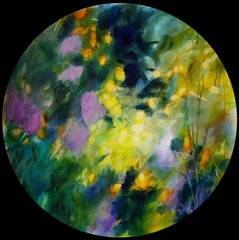 """""""Memories of secret"""", acrylic on circular canvas, 70cm ├╕    An abstract and poetic evocation of nature, foliages, path on the woodland... Forms and shapes playing with colors, lights glow, illuminating a secret path in the forest, like a wonderful"""