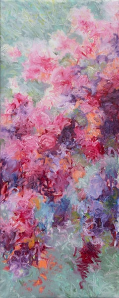 Pink and mint floral, Painting, Oil on Canvas