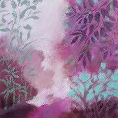 Pink and turquoise landscape, Painting, Acrylic on Other