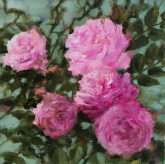 Pink roses, Painting, Oil on Canvas
