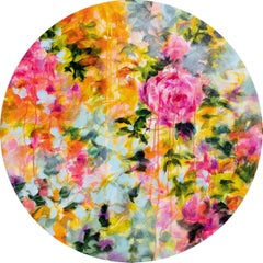 Psychedelic vintage flowers - floral tondo, Painting, Acrylic on Canvas