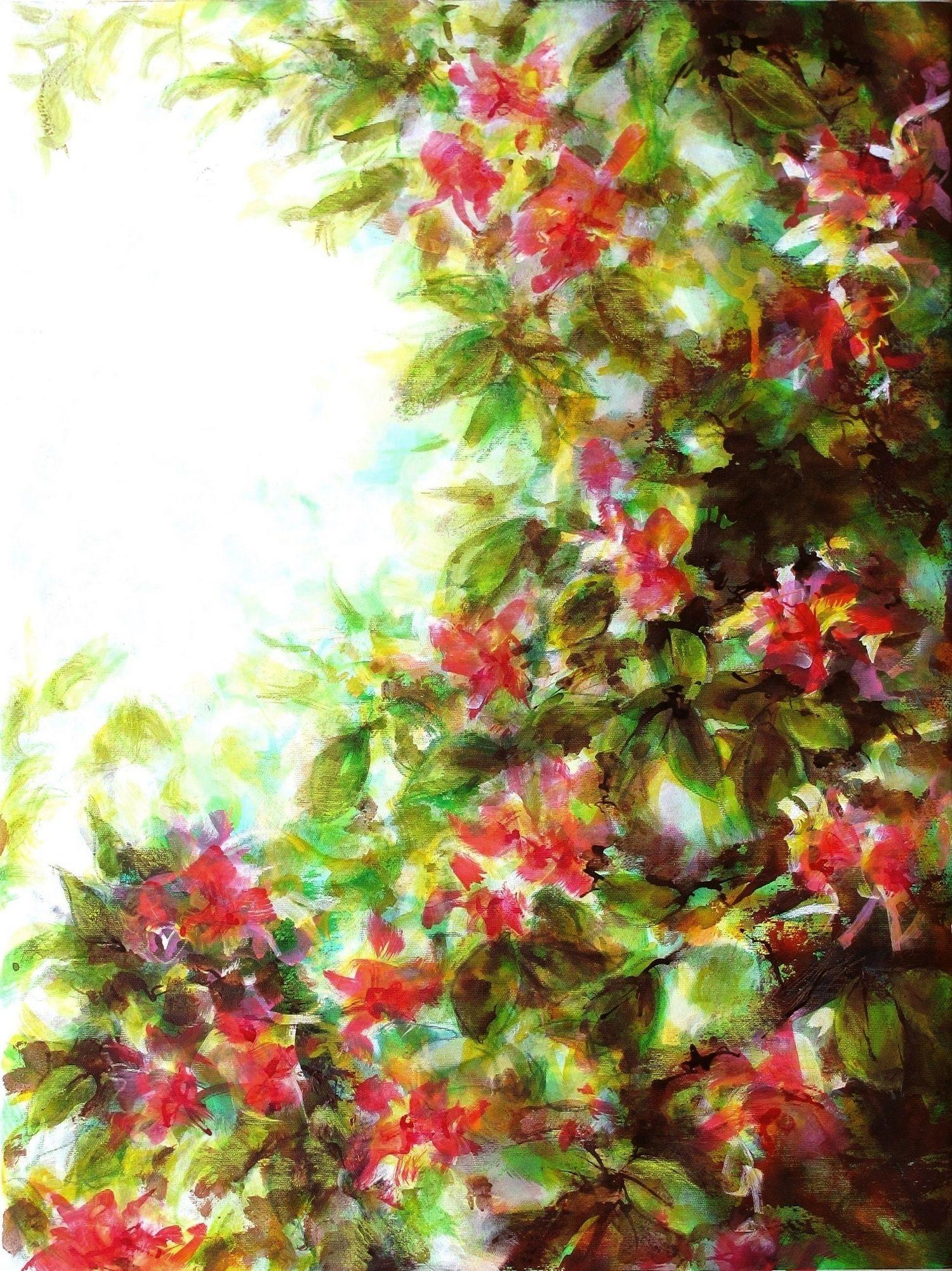 Red flowers on light, Painting, Acrylic on Canvas