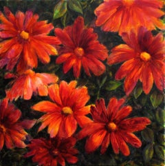 Red flowers, Painting, Acrylic on Canvas