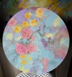 Romantic floral tondo, Painting, Acrylic on Canvas