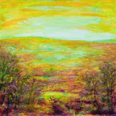 Yellow meadow - Abstract Landscape, Painting, Acrylic on Paper