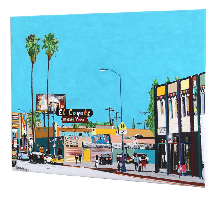 This is Beverly Blvd IV - Blue Figurative Painting by Fabio Coruzzi