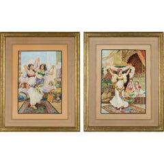 "Fabio Fabbi 'Italian, 1861-1946' Pair of Orientalist Watercolors ""Harem Dancers"""
