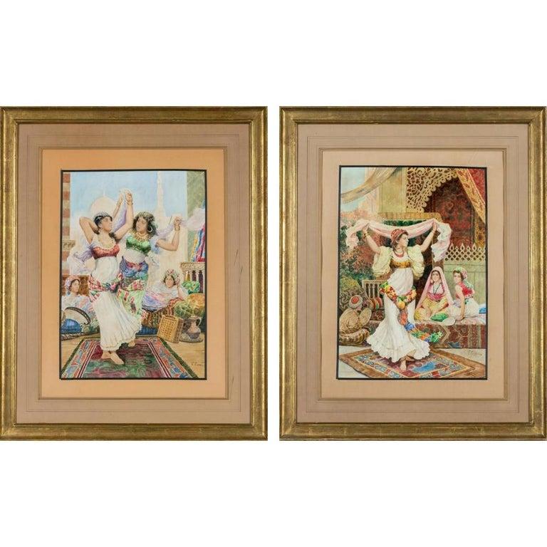"Fabio Fabbi 'Italian, 1861-1946' Pair of Orientalist Watercolors ""Harem Dancers"" For Sale"
