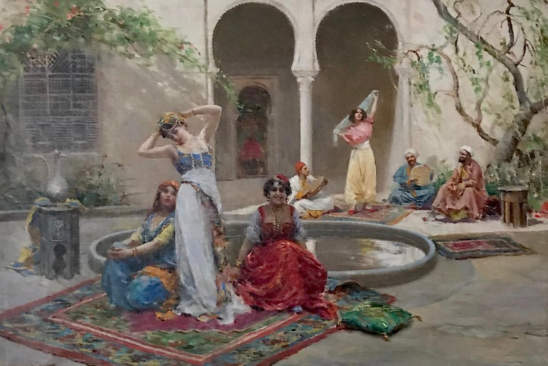 Harem Girls, Antique Original Oil Painting by Fabio Fabbi For Sale 1