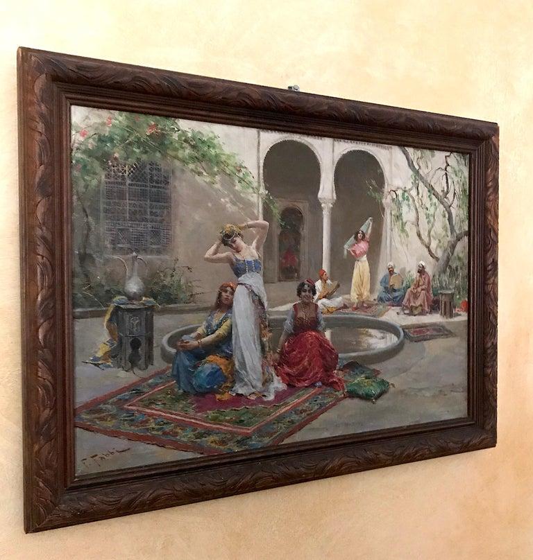 Harem Girls, Antique Original Oil Painting by Fabio Fabbi For Sale 2