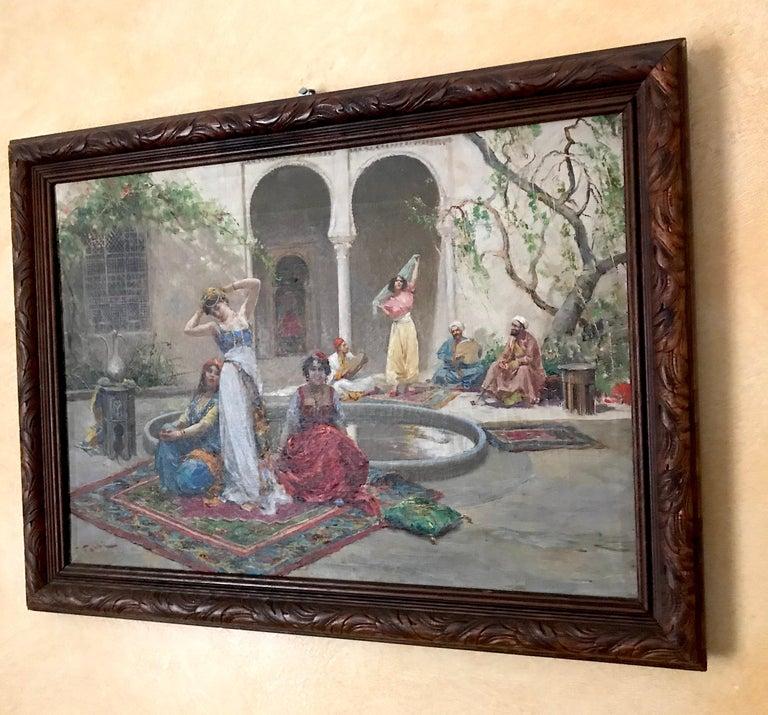 Harem Girls, Antique Original Oil Painting by Fabio Fabbi For Sale 3