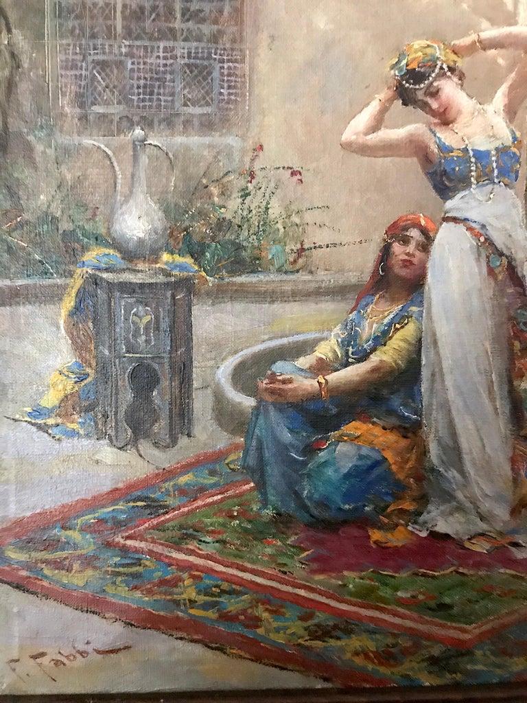 Harem Girls, Antique Original Oil Painting by Fabio Fabbi For Sale 4