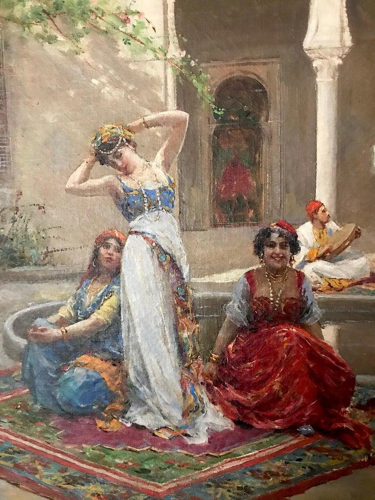 Harem Girls, Antique Original Oil Painting by Fabio Fabbi For Sale 5
