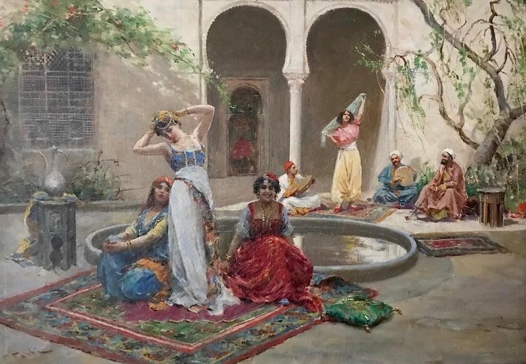 "Artist: Fabio Fabbi Work: Original Oil Painting, Handmade Artwork, One of a Kind Medium: Oil on Linen, Year: 1861-1946 Style: Classic Art, Subject: Harem Girls, Size: 13, 3/4"" x 19, 7/8"" x 0.8'' inch, 33.5x48.5x2cm, Framed: 17'' x 23, 1/4''x3''"