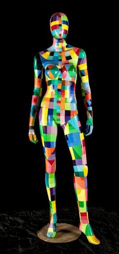 Fabio Imperatori Abstract Figurative Sculptor Multicolor Acrylic Signed